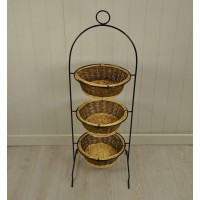 Metal Frame with Three Willow Baskets Vegetable Rack (Warehouse Second)