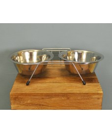 Stainless Steel Double Diner Non Slip Bowl by Kingfisher