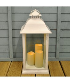 Medium Battery Operated Candle Lantern in White by Kingfisher