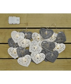 20 LED Grey and White Heart (Battery) String Lights by Kingfisher