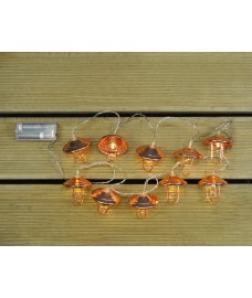 10 LED Copper Lantern String Lights (Battery) by Kingfisher