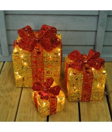 Set of 3 LED Light Up Gold Christmas Gift Boxes by Premier