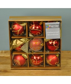 Red & Gold Decorated 6cm Bauble Decorations (Set of 9) by Premier