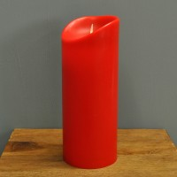 Battery Operated LED Dancing Flame Red Candle 23cm by Premier