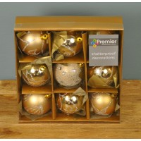 Champagne Gold Decorated 6cm Bauble Decorations (Set of 9) by Premier