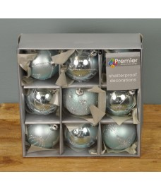 Ice Blue Decorated 6cm Bauble Decorations (Set of 9) by Premier