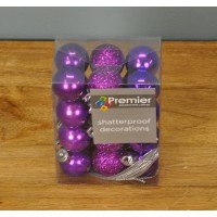 Purple Decorated 3cm Bauble Decorations (Set of 24) by Premier