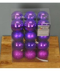 Purple Decorated 6cm Bauble Decorations (Set of 24) by Premier