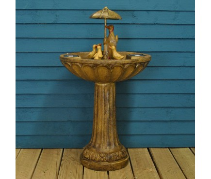 Resin Duck Family Fountain Outdoor Water Feature (Solar) by Smart Solar