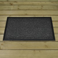 Anthracite Patterned Rubber Backed Doormat by Smart Solar