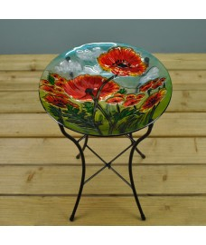 Glass Poppy Wild Bird Bath by Smart Solar