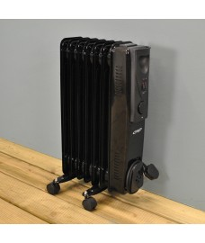 1500 Watt Oil Filled 7 Fin Radiator in Black by Kingfisher