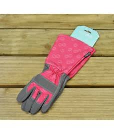 One Size Fits (Almost) All Raspberry Gauntlet Gardening Gloves by Burgon & Ball