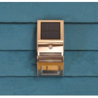 Solar Powered Motion Sensor Stainless Steel LED Wall Light by Gardman