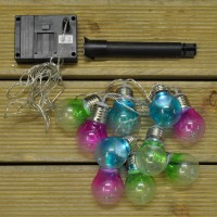 10 LED Coloured Bulbs String Lights (Solar) by Gardman