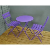 Purple Metal Garden Bistro Set for Two by Kingfisher