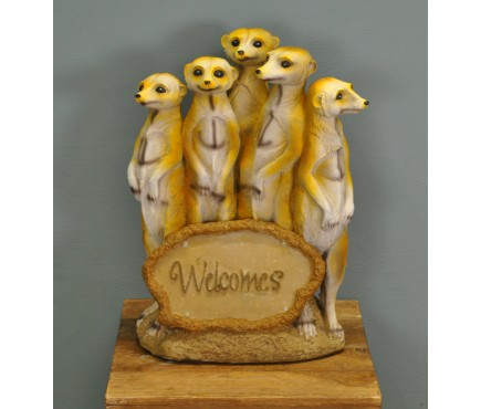 Meerkat Family Welcomes Sign (Solar) by Premier