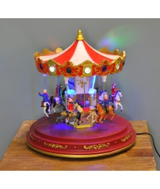 Multi Coloured Christmas Animated Carousel 24cm by Premier