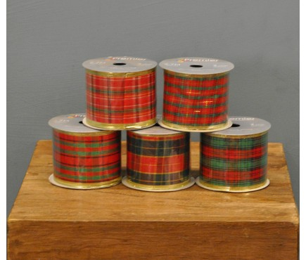 Set of 5 Tartan Christmas Ribbons by Premier