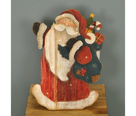 Jolly Santa Wooden Ornament with LEDs by Premier