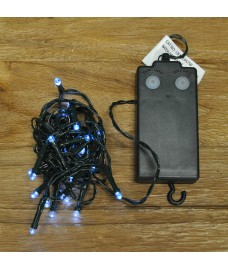 24 Static & Flashing Superbright LED White String Lights (Battery) by Premier