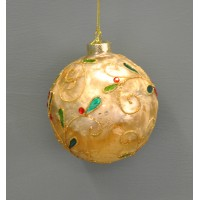 Gold Glitter Pattern Christmas Bauble (10cm) by Premier