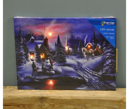 Cottage with Horse and Sleigh Christmas Canvas Decoration with LEDs by Premier