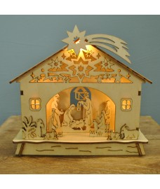 18cm Lit Christmas Nativity Scene With 3 Warm White LEDs by Premier