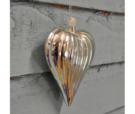 Glass Silver Ribbed Christmas Bauble (10cm) by Premier