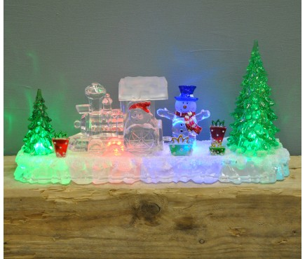 Acrylic Santa Train Decoration with Colour Changing LED's by Premier