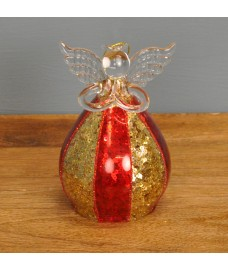 Red & Gold Glass Angel Christmas Bauble (12cm) by Premier