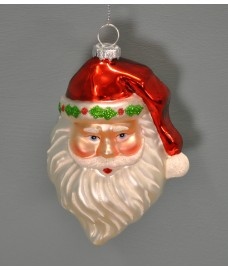 Glass Santa Christmas Bauble Decoration (12cm) by Premier