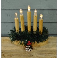 Wooden Christmas Candle Bridge Light (Battery Operated) by Premier