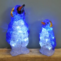 Set of 2 Acrylic Standing Penguin Christmas LED Lights