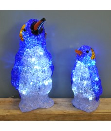 Set of 2 Acrylic Standing Penguin Christmas LED Lights by Premier