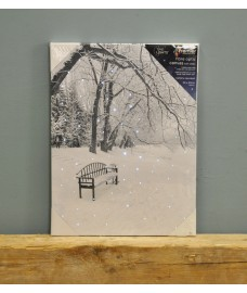 Snowing Christmas Scene Canvas with LEDs and Fibre Optics by Premier