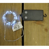 50 LED Wire Waterproof Christmas Lights with Timer - White (Battery) by Premier