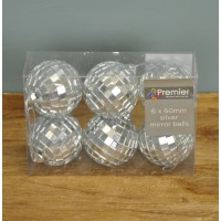 Pack of 6 Silver Mirror Ball Christmas Decoration (6cm) by Premier