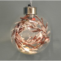 Clear Glass Christmas Bauble with Berries & LED Lights (8cm) by Premier