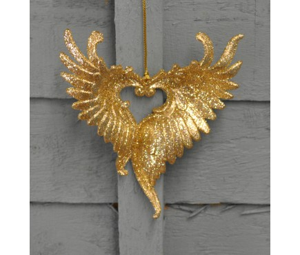 Gold Glitter Heart Wing Christmas Bauble (11cm) by Premier