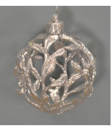 Silver Glitter Filigree Christmas Bauble (10cm) by Premier