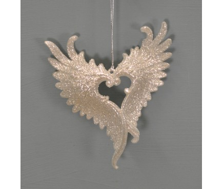 Silver Glitter Heart Wing Christmas Bauble (11cm) by Premier