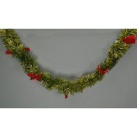 Green and Gold Christmas Tinsel Garland Decoration (2m) by Premier