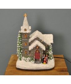 Christmas St James' Church Scene Decoration with Fibre Optic Lights (Mains) by Premier