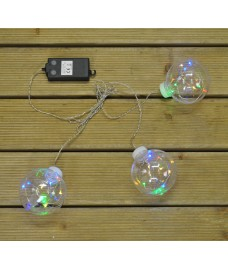 3 Multi Coloured LED Globes (Battery) by Premier