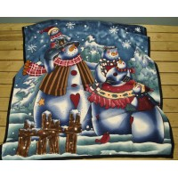 Snowman Family Design Fleece Throw (1.6m x 1.3m) by Premier