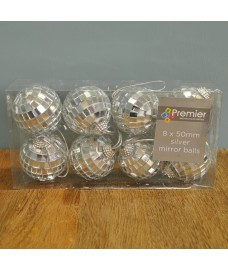 Pack of 8 Silver Mirror Ball Christmas Decoration (5cm) by Premier