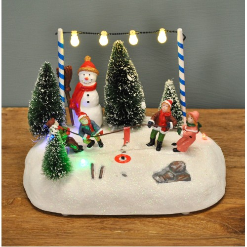 Christmas Scenes Pictures.Light Up Christmas Winter Scene Decoration With Led S Battery Operated By Premier