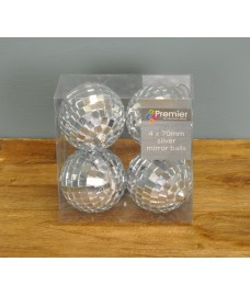 Pack of 4 Silver Mirror Ball Christmas Decoration (15cm) by Premier