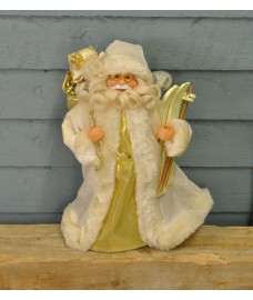 Santa with Skis Christmas Tree Topper (Cream) by Premier